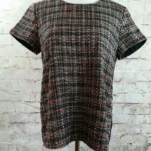 Banana Republic tweed, wool, metalic top
